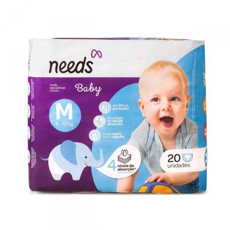 Fralda Descartável Needs Baby Tamanho M 20 Tiras |