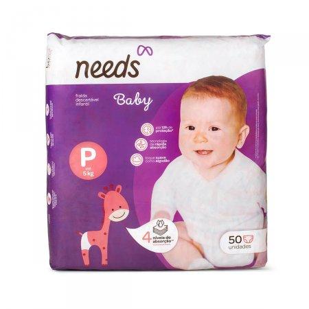 Fralda Descartável Needs Baby Tamanho P 50 Tiras | Drogasil.com Foto 1