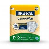 Fralda Descartável para Adulto Bigfral Derma Plus P com 9 unidades