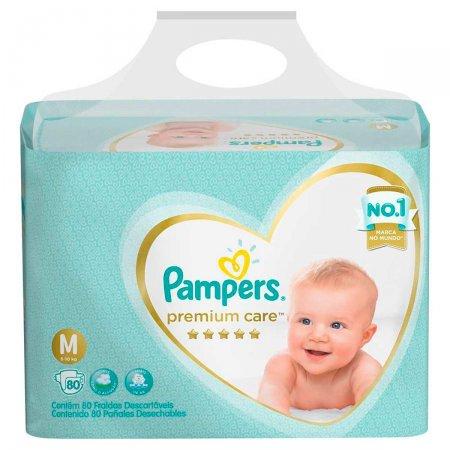 Fralda Pampers Premium Care Tamanho M com 80 Tiras   Drogasil.com Foto 1