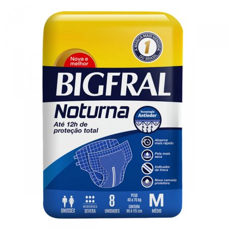 Fralda Geriátrica Bigfral Plus Noturna Tamanho M