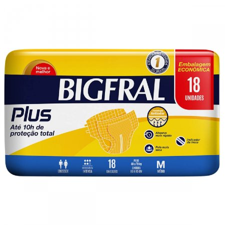 Fralda Geriátrica Bigfral Plus Tamanho M