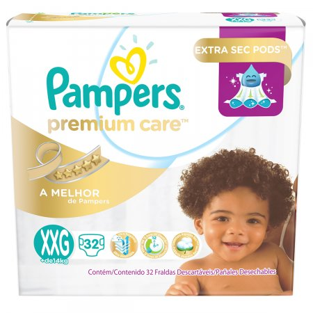 Fralda Pampers Premium Care Tamanho XXG 32 unidades   Drogasil - Foto 1