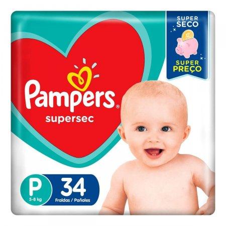 Fralda Pampers SuperSec Tamanho P 34 Tiras   Drogasil.com Foto 2