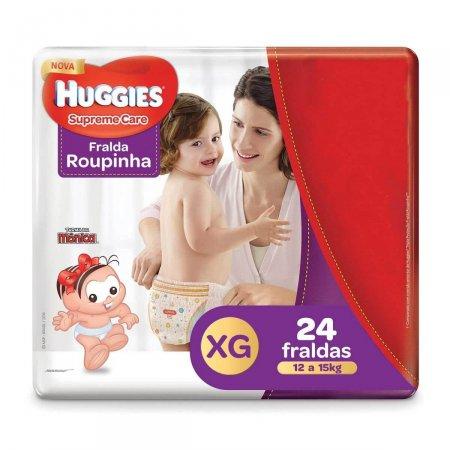 HUGGIES SUPREME CARE FRALDA ROUPINHA TAMANHO EXTRA GRANDE MEGA COM 24 TIRAS