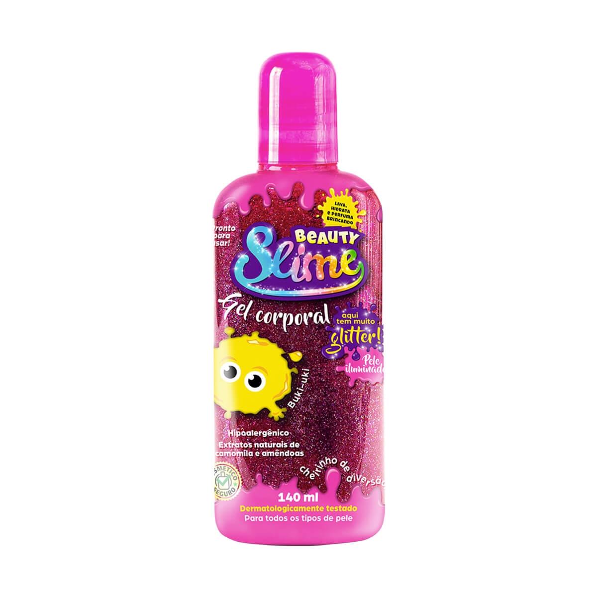 Gel Corporal Beauty Slime Iluminador Glitter Rosa 140ml