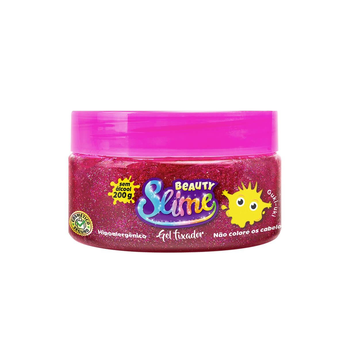 Gel para Cabelo Beauty Slime Glitter Rosa 200g