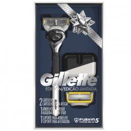 Kit Aparelho de Barbear Gillette Fusion 5 Proshield Edição Limitada com 1 unidade + 2 cartuchos e 1 suporte