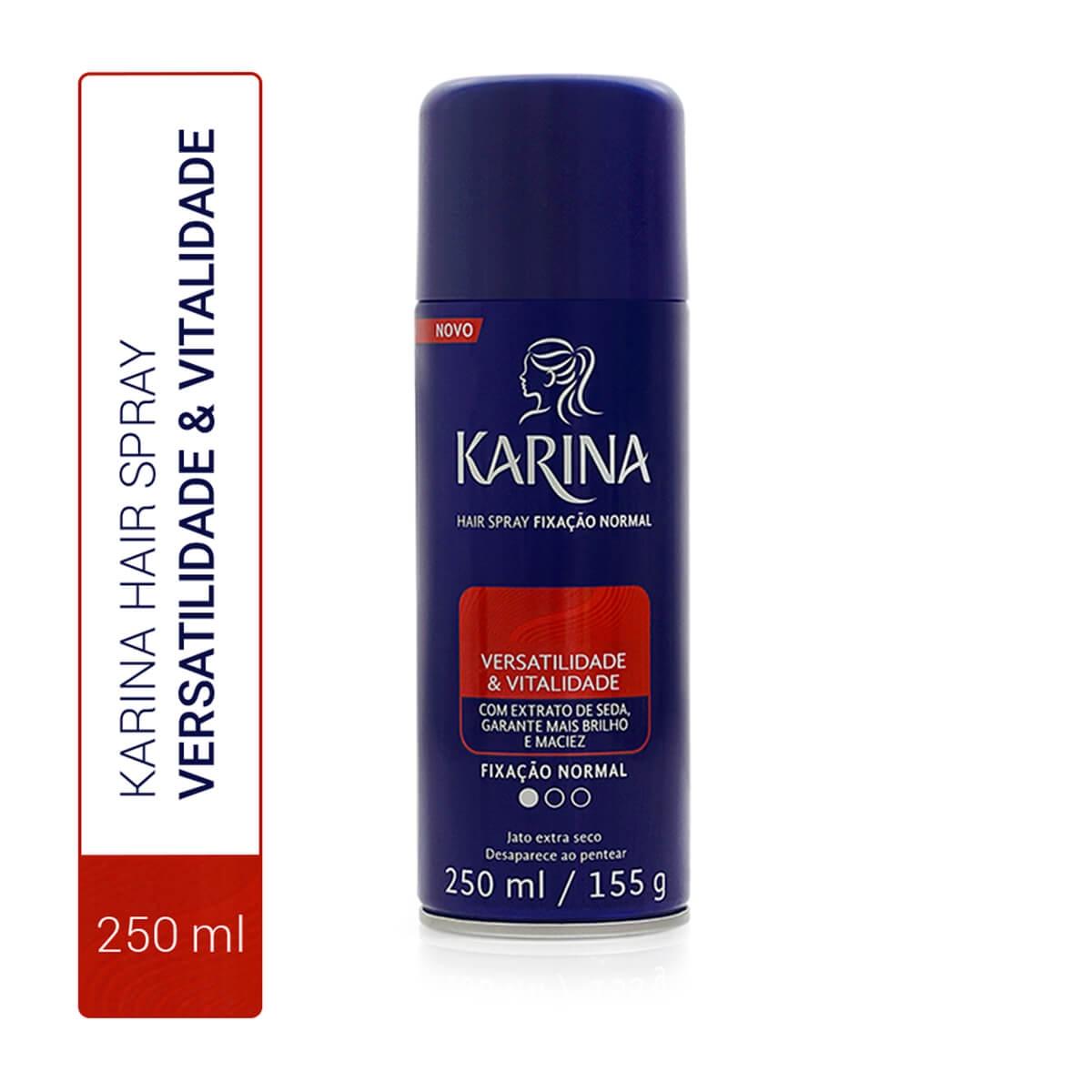 Hair Spray Karina Versatilidade e Vitalidade Fixação Normal 250ml