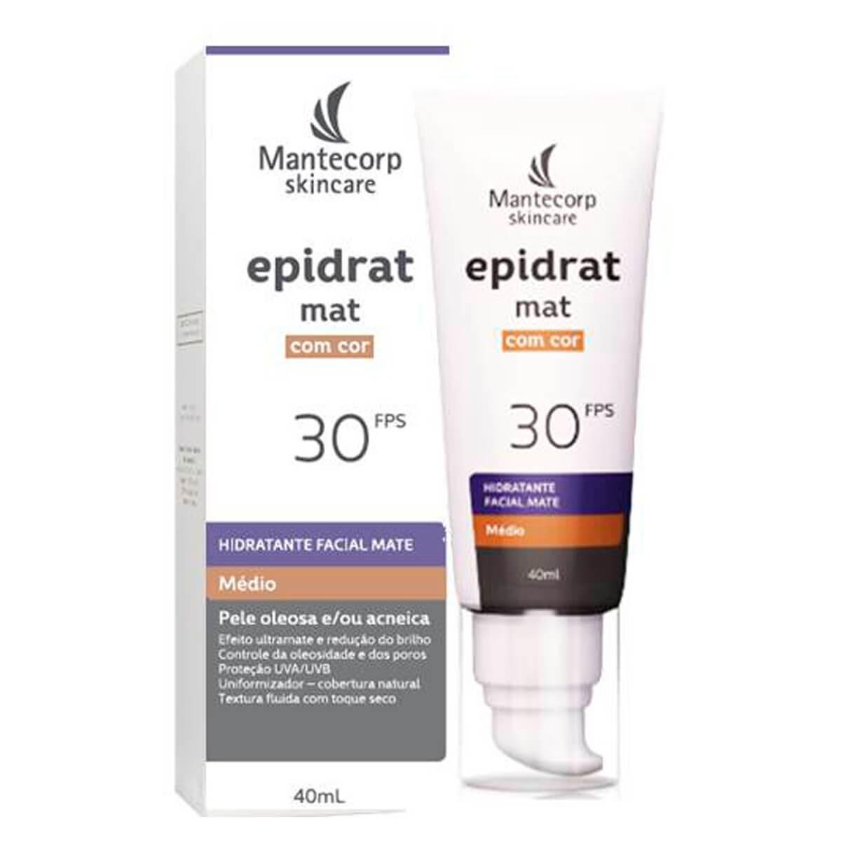 Hidratante Facial Mate Epidrat Mat com Cor Médio FPS30 40ml