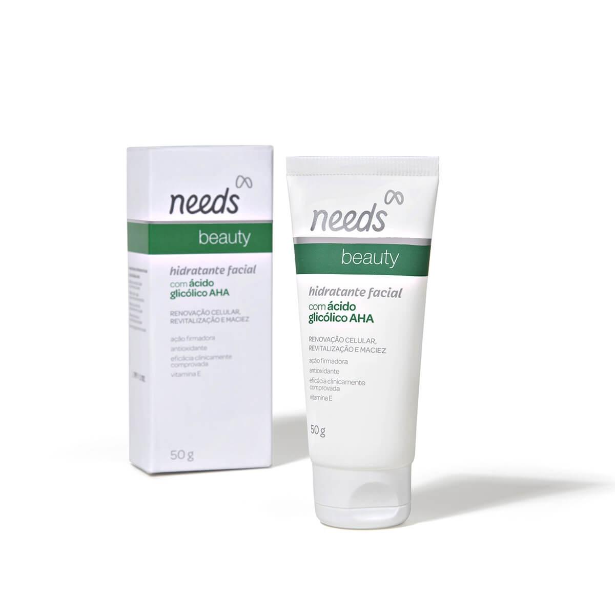 Hidratante Facial Needs Beauty com Ácido Glicólico AHA com 50g 50g