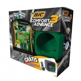 Kit Aparelho de Barbear Bic Comfort 3 Advance com 4 unidades + Suporte Acústico para Celular
