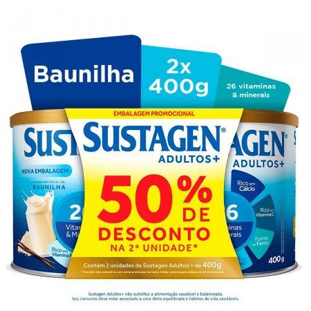 Kit Complemento Alimentar Sustagen Adultos+ Sabor Baunilha 2 Unidades de 400g cada   Drogasil.com Foto 2