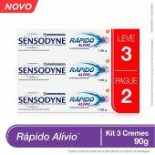 Kit Pasta de Dente Sensodyne Rápido Alívio para Dentes Sensíveis - Leve 3, Pague 2