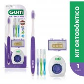 Kit Ortodôntico G.U.M Orthodontic com 1 escova de dente + 3 escovas interdentais + 5 bastões de cera + 5 fios dentais com ponta dupla rígida