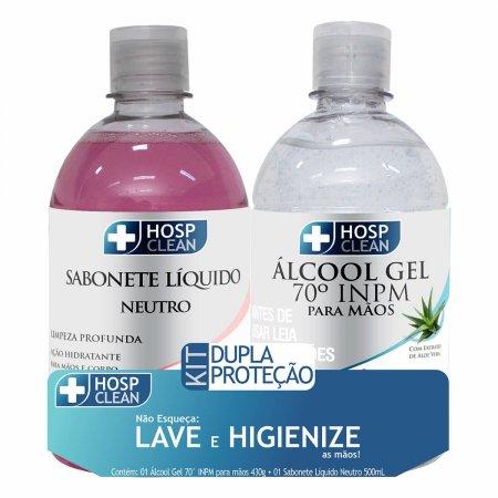 HOSP CLEAN KIT SABONETE LIQUIDO NEUTRO 500ML + ALCOOL GEL 70% 430G