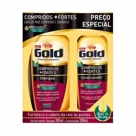 Kit Shampoo + Condicionador Niely Gold Compridos + Fortes