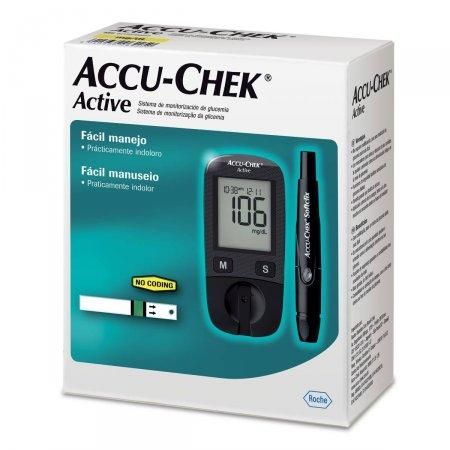 ACCU CHEK ACTIVE MONITOR DE GLICEMIA +1 LANCETADOR +10 TIRAS + 10 LANCETAS