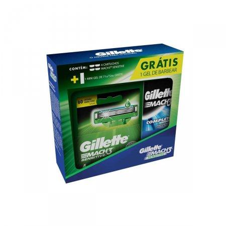 Kit Carga para Aparelho de Barbear Gillette Mach3 Sensitive com 4 Unidades
