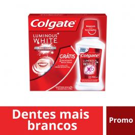 Kit Colgate Luminous White Brilliant Mint com 3 pastas de dente de 70g + 1 enxaguante bucal de 250ml