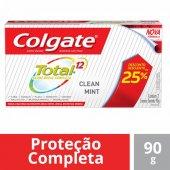 COLGATE CREME DENTAL TOTAL 12 CLEAN MINT 90G COM 25% DESCONTO EM CADA UNIDADE