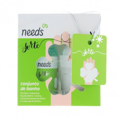 NEEDS KIT BRISA DO MAR HIDRATANTE 60ML + SABONETE LIQUIDO 60ML + ESPONJA DE BANHO