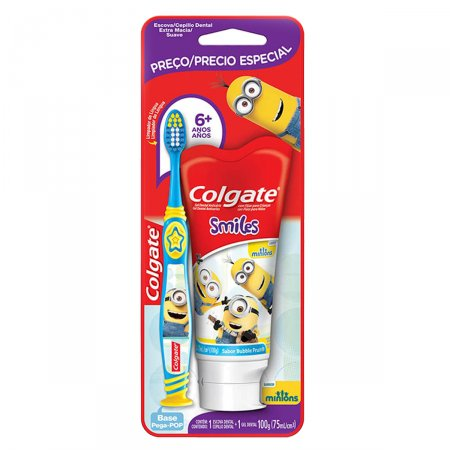 COLGATE KIT ESCOVA DENTAL MINIONS + GEL DENTAL MINIONS 100G PRECO ESPECIAL