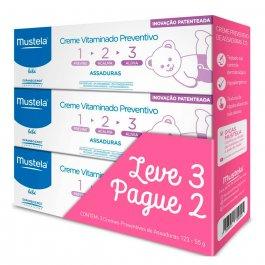 Kit Creme Vitaminado Preventivo de Assaduras Mustela Bebé 123 com 3 unidades