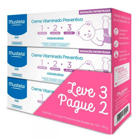 Kit Creme Vitaminado Preventivo de Assaduras Mustela Bebé 123 com 3 unidades de 55g