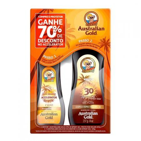 AUSTRALIAN GOLD KIT PROTETOR SOLAR CORPORAL SPRAY GEL INSTANT BRONZER FPS15 237G + ACELERADOR DE BRONZEADO SPRAY GEL CLEAR DARK TANNING 125G