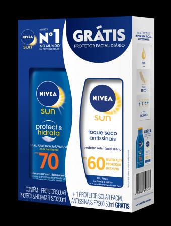 Kit Protetor Solar Nivea Sun Protec & Hidrata FPS70 + Protetor Solar Facial Diário Nivea FPS60