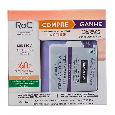 ROC MINESOL OIL CONTROL TINTED FPS60 GRATIS WIPES NIGHT CALMING 50G