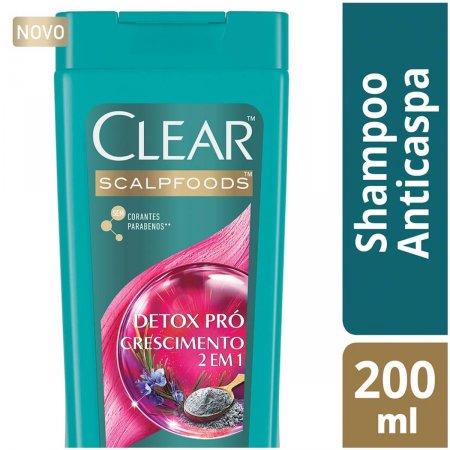 CLEAR MEN SHAMPOO E CONDICIONADOR 2 EM 1 ANTICASPA DETOX PRO CRESCIMENTO ARGILA E OLEO DE ALECRIM 200ML