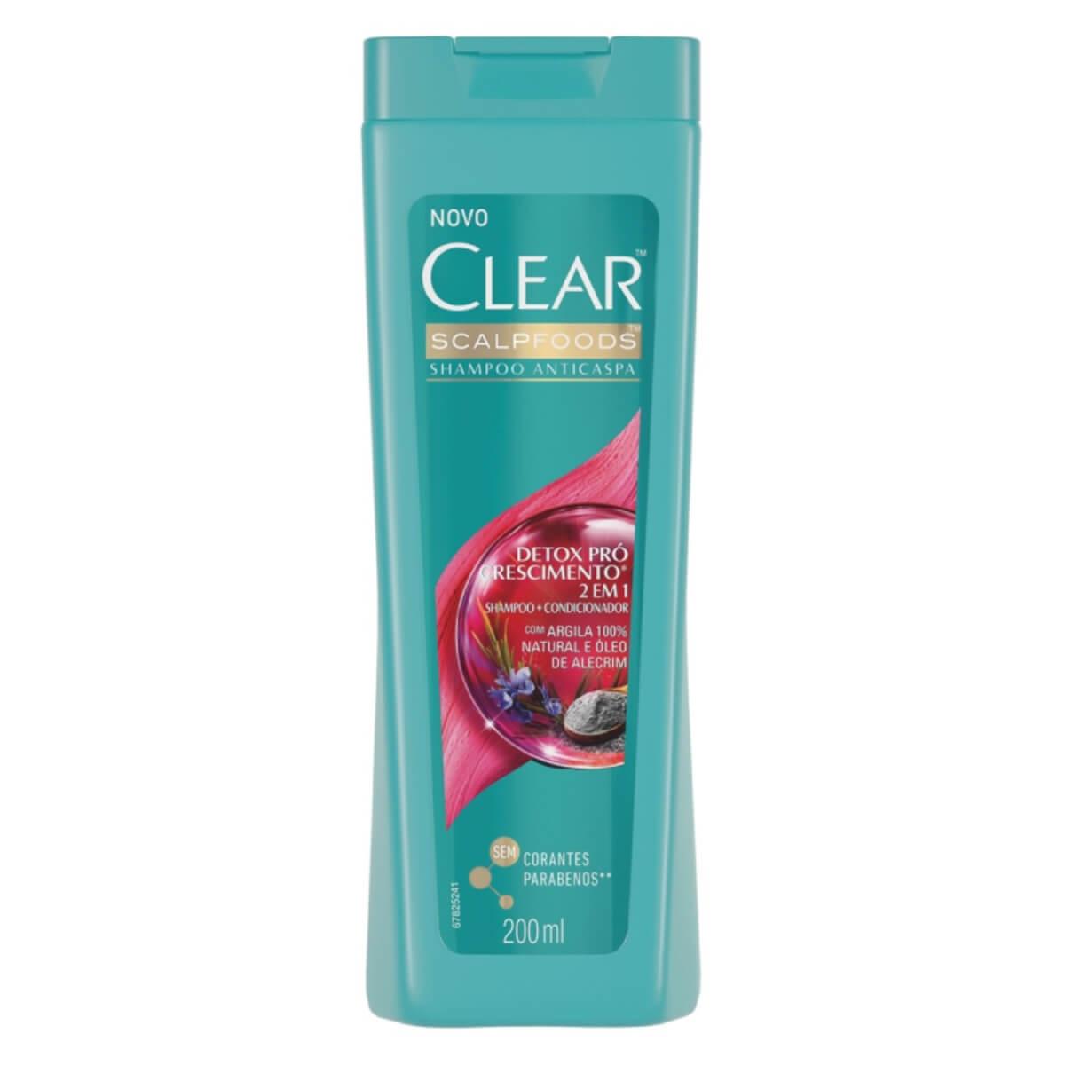 Shampoo Anticaspa Detox 2 em 1 Pró-crescimento Clear 1 Unidade