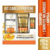 Kit Shampoo + Condicionador 3 Minutos Pantene Força e Reconstrução - Grátis Ampola 15ml