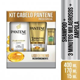 Kit Pantene Liso Extremo Shampoo com 400ml + Condicionador com 170ml + Ampola Restauração com 15ml