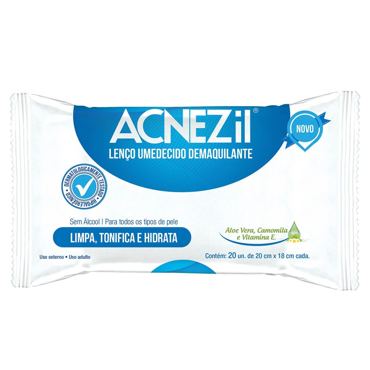 Lenço Umedecido Demaquilante Acnezil 20 Unidades