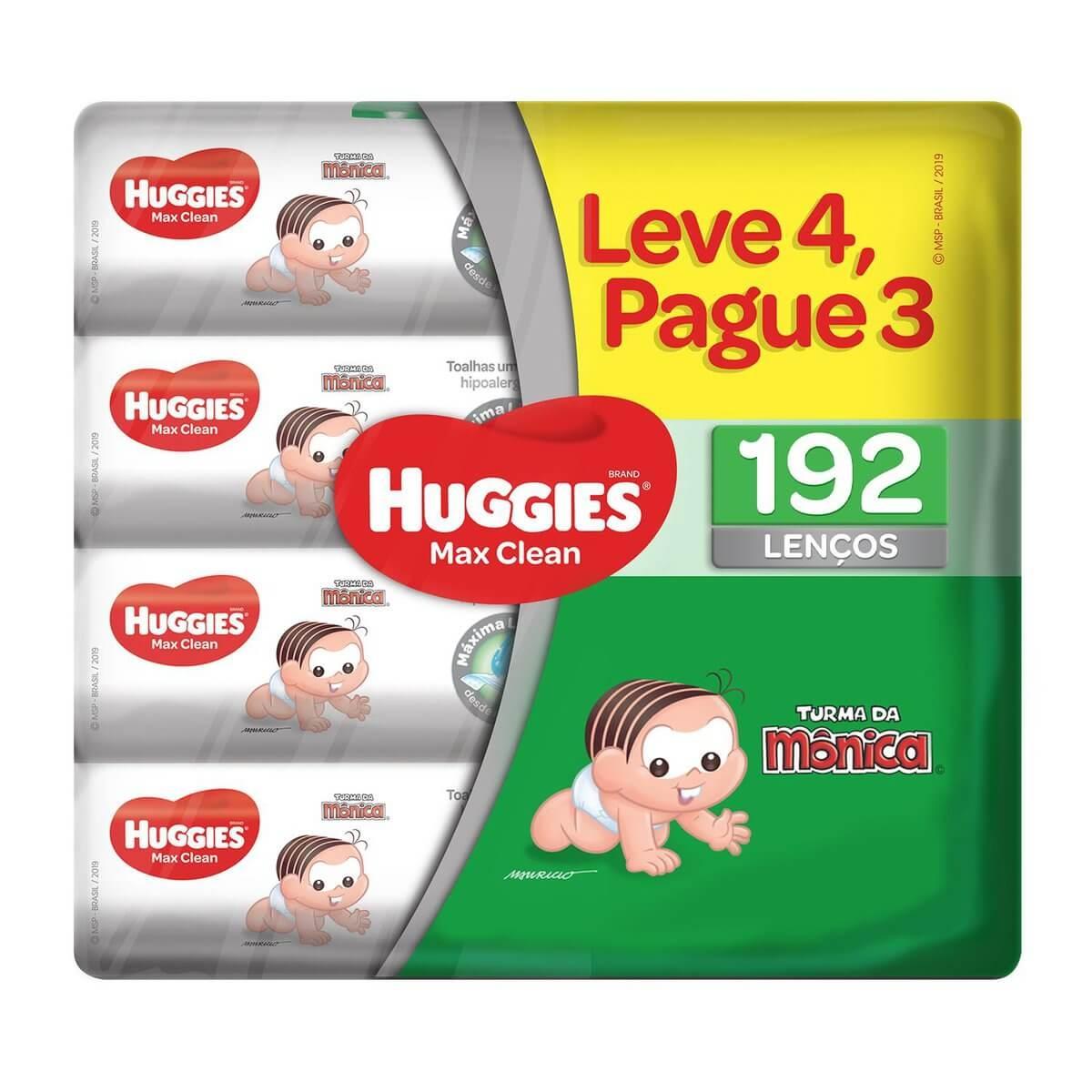 Lenço Umedecido Huggies Max Clean com 192 unidades 192 Unidades