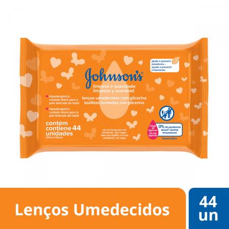 JOHNSONS BABY TOALHAS UMEDECIDAS LIMPEZA E SUAVIDADE COM 44 UNIDADES