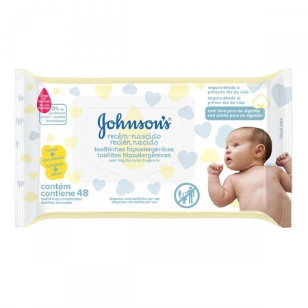 Lenços Umedecidos Johnson's Baby Recém-Nascido Sem Perfume com 48 unidades
