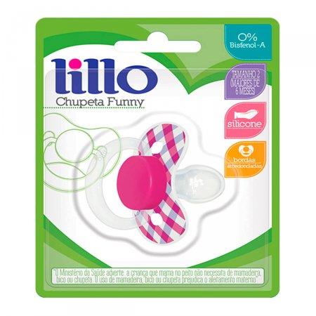 Chupeta de Silicone Lillo Funny Xadrez Tamanho 2 Cor Rosa