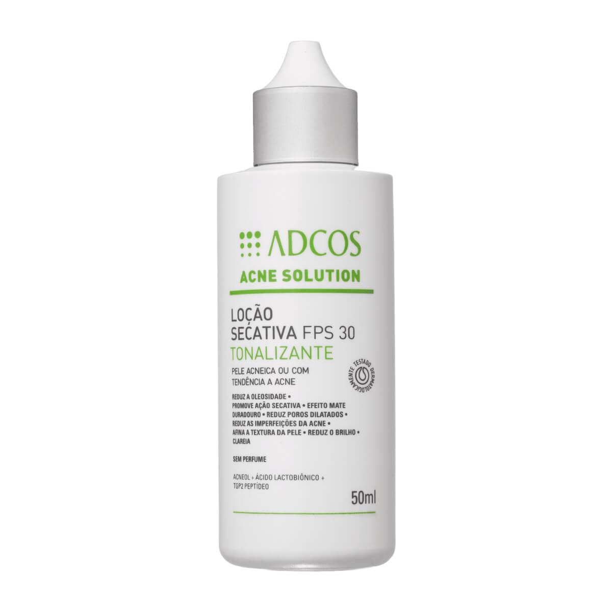 Loção Secativa Facial Adcos Tonalizante Acne Solutions FPS30 50ml