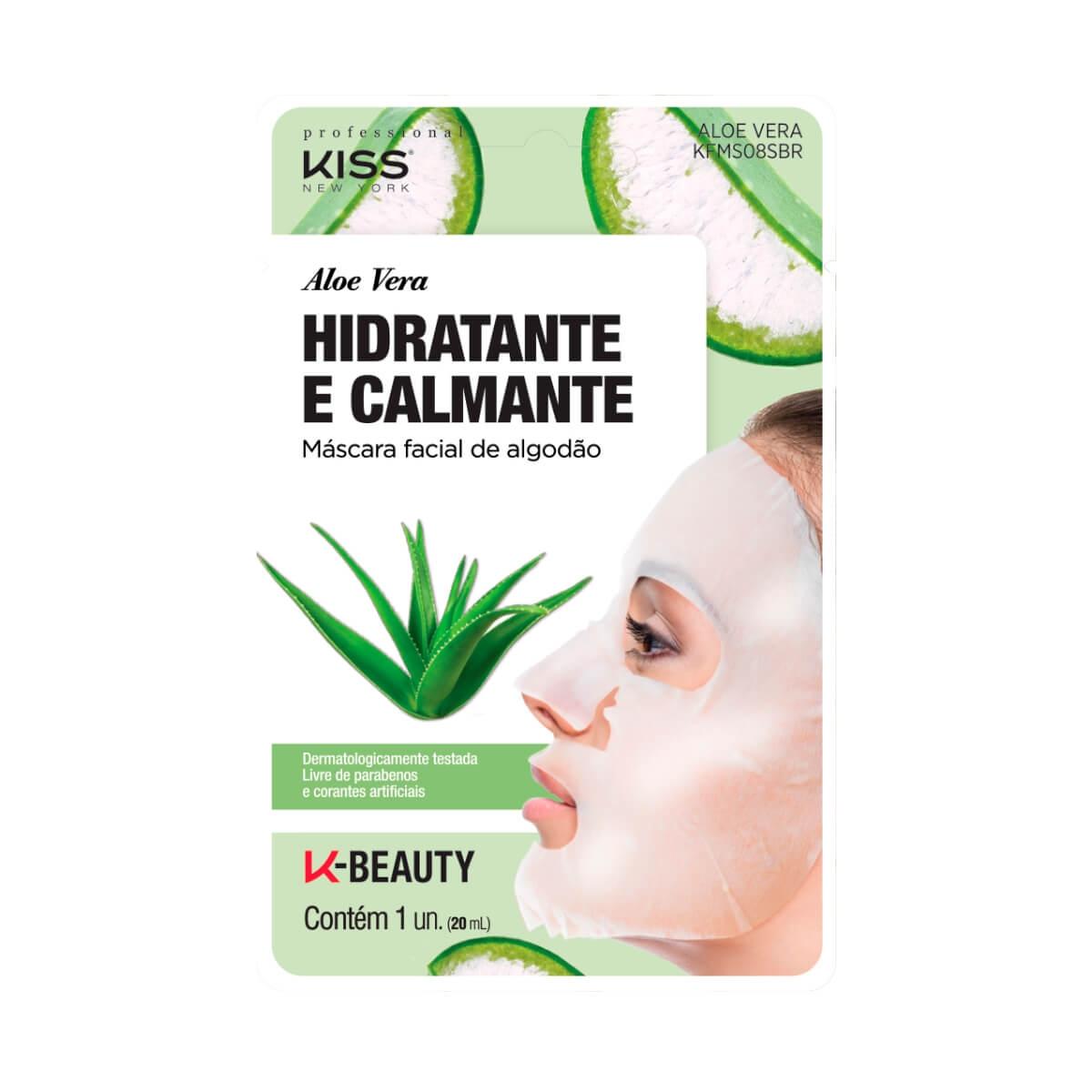 Máscara Facial de Algodão Kiss NY Aloe Vera Hidratante e Calmante 1 Unidade