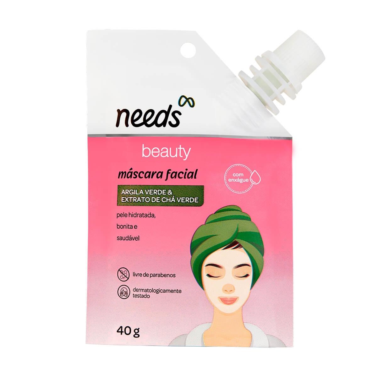 Máscara Facial Needs Beauty Argila Verde e Extrato de Chá Verde 40g