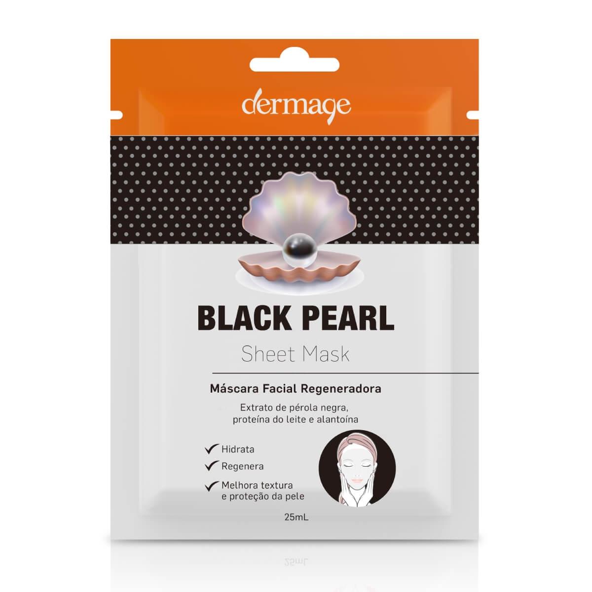 Máscara Facial Regeneradora Dermage Black Pearl Sheet 25ml