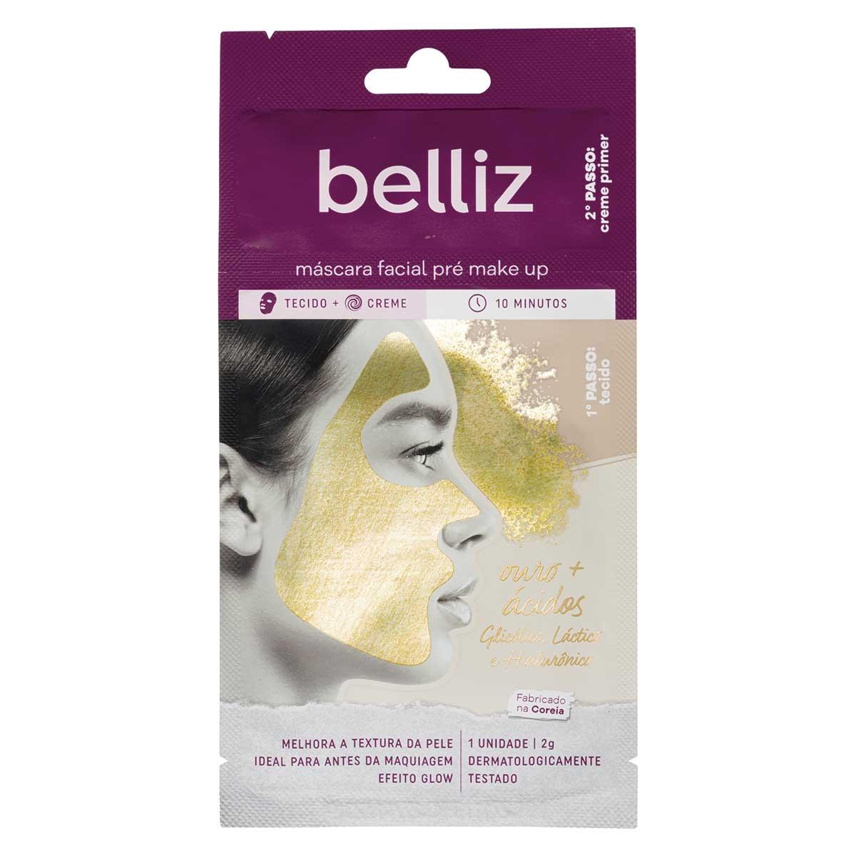 Máscara Facial Pré Make Up Belliz com Ouro 2g 2g