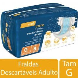 Fralda Descartável Needs Care Adulto G com 8 unidades