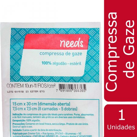 Compressa de Gaze Needs 10 unidades | Drogasil.com Foto 2