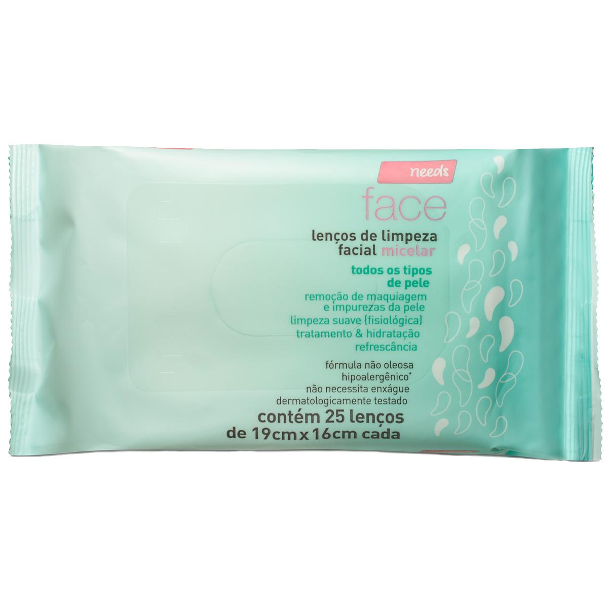 Lenços de Limpeza Facial Needs Micelar 25 Unidades