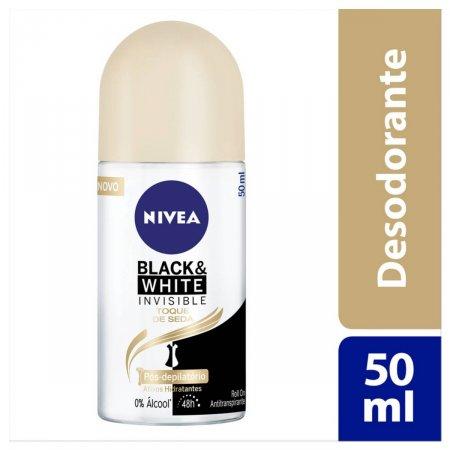Desodorante Antitranspirante Roll On Nivea Invisible Black & White Toque de Seda